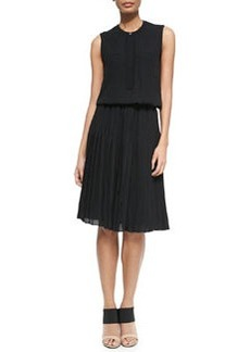 Vince Pleated Chiffon A-Line Dress
