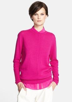 Vince Pointelle Trim Crewneck Sweater