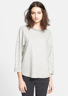Vince Relaxed Rolled Sleeve Crewneck Sweater