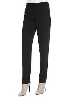Vince Satin-Striped Tuxedo Trousers, Black