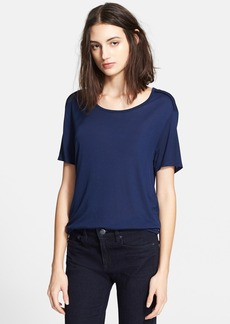 Vince Seamed Short Sleeve Scoop Neck Blouse