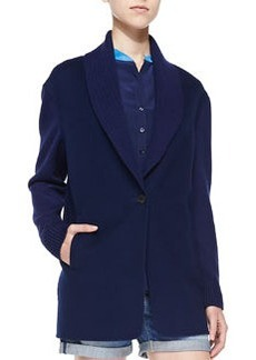 Vince Shawl-Collar Knit Blazer Cardigan, Blue Marine