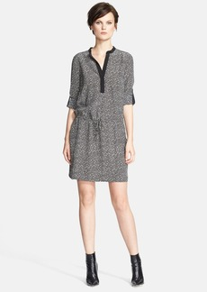 Vince Silk Drawstring Long Sleeve Shirtdress