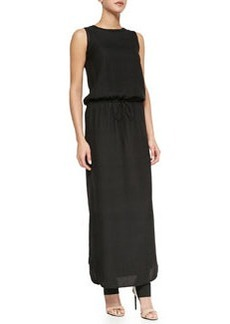 Vince Sleeveless Drawstring Jacquard Maxi Dress