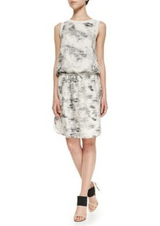 Vince Sleeveless Marble-Print Dress