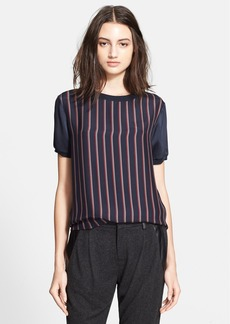 Vince Stripe Print Silk Blouse