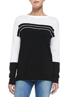Vince Two-Tone Cotton Slub Top, Black/Optic White