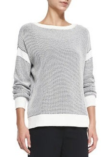 Vince Two-Tone Perforated Knit Sweater