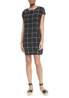 Vince Windowpane-Print Cap-Sleeve Dress
