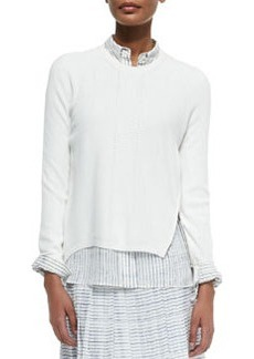 Vince Zip-Hem Knit Sweater, Off White