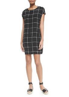 Windowpane-Print Cap-Sleeve Dress   Windowpane-Print Cap-Sleeve Dress