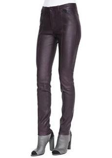Zip-Detail Leather Leggings, Mulberry   Zip-Detail Leather Leggings, Mulberry