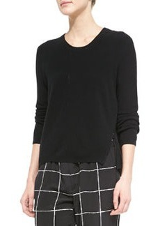 Zip-Hem Knit Sweater, Black   Zip-Hem Knit Sweater, Black