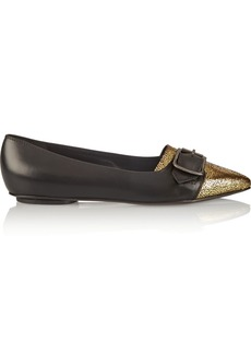 Vivienne Westwood Cracked metallic leather point-toe flats