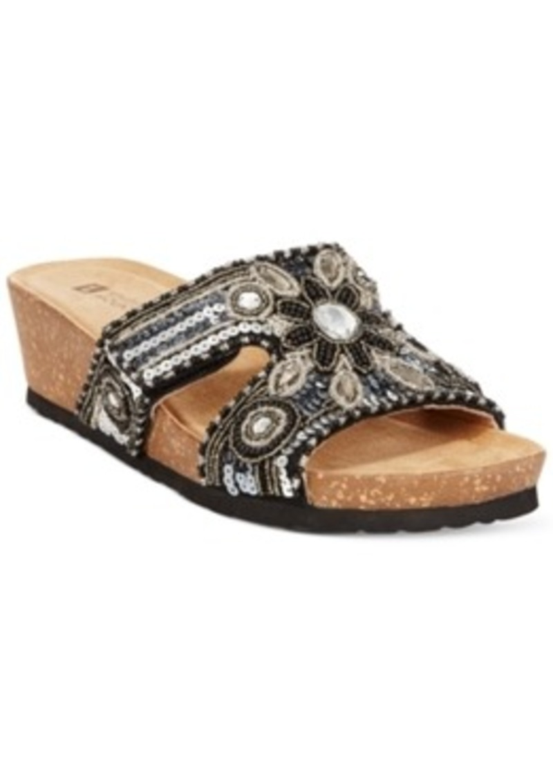 whit white mountain blinker jeweled wedge sandals s