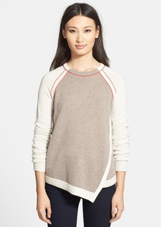 White + Warren Asymmetrical Front Cashmere Crewneck Sweater