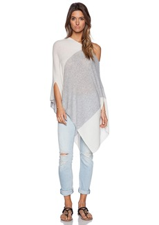 White + Warren Blocked Side Slit Poncho