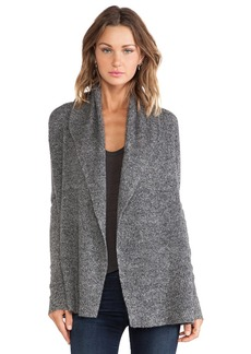 White + Warren Chevron Rib Cardigan in Charcoal