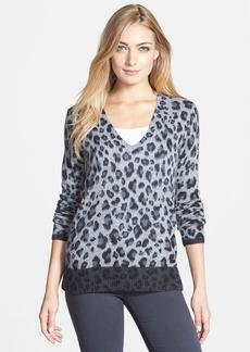 White + Warren Colorblock Animal Print V-Neck Cashmere Sweater