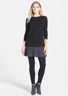 White + Warren Colorblock Cashmere Flare Hem Dress
