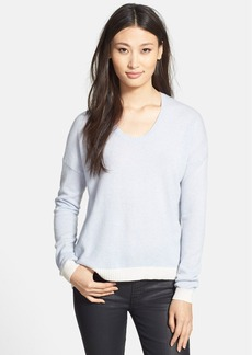 White + Warren Colorblock U-Neck Cashmere Sweater