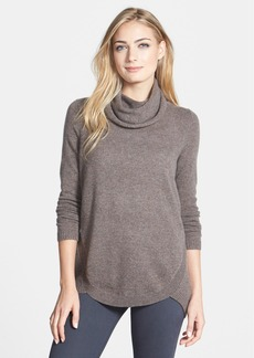 White + Warren Curved Hem Cashmere Scrunch Neck Sweater