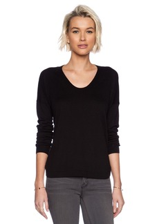White + Warren Curved Hem U-Neck Sweater