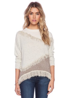 White + Warren Fringe Intarsia Open Crew Sweater