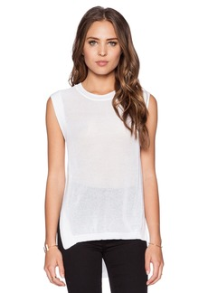 White + Warren Grid Mesh Tank