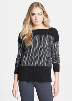 White + Warren Micro Cable Cashmere Boatneck Sweater
