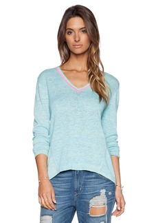 White + Warren Neon Trim V Neck Sweater