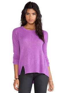 White + Warren Notch Hem Crewneck Sweater in Purple