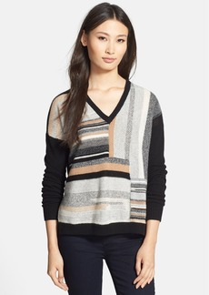 White + Warren Patchwork V-Neck Cashmere Sweater