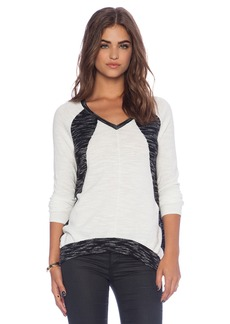 White + Warren Raglan Intarsia V-Neck Sweater