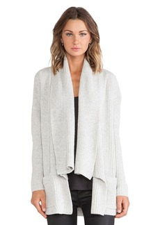 White + Warren Rib Cardigan in Light Gray