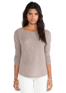 White + Warren Rickrack Slash Neck Sweater in Taupe