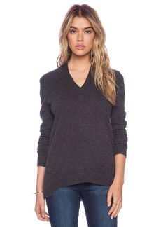 White + Warren Sharkbite V-Neck Sweater