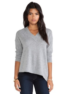 White + Warren Wide Trim V Neck Sweater in Gray