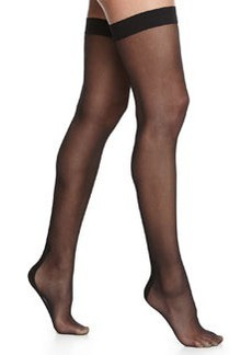 Flavia Zig-Zag Seam Thigh-Highs, Black   Flavia Zig-Zag Seam Thigh-Highs, Black