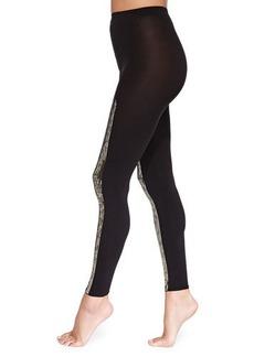 Wolford Scarlett Sequin-Stripe Leggings, Black/Gold