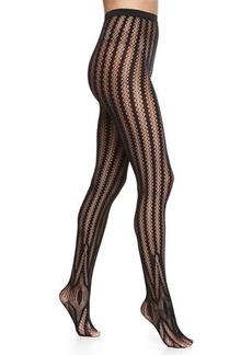 Wolford Trocadero Vertical-Stripe Tights, Black