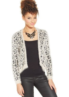 XOXO Animal-Print Eyelash-Knit Cardigan