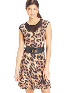 XOXO Animal-Print Illusion Dress