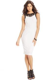 XOXO Beaded-Applique Sheath Dress
