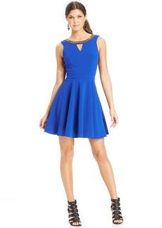 XOXO Beaded-Trim Skater Dress