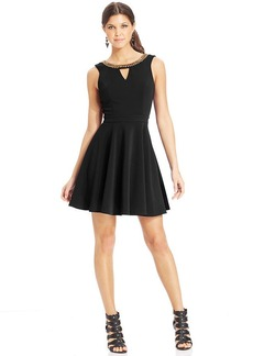 XOXO Beaded-Trim Skater Dress