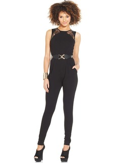 XOXO Juniors' Belted Skinny-Leg Jumpsuit