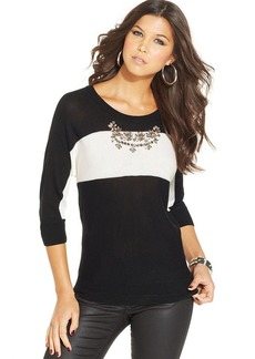 XOXO Colorblock Jeweled Sweater