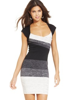 XOXO Colorblock Metallic-Print Bodycon Dress