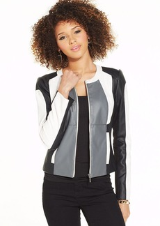 XOXO Juniors' Faux-Leather Colorblock Jacket